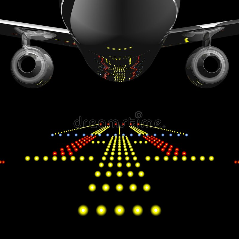 Airliner and Runway Lights. Perfect jet airliner reflecting the runway lights in it's fuselage vector illustration