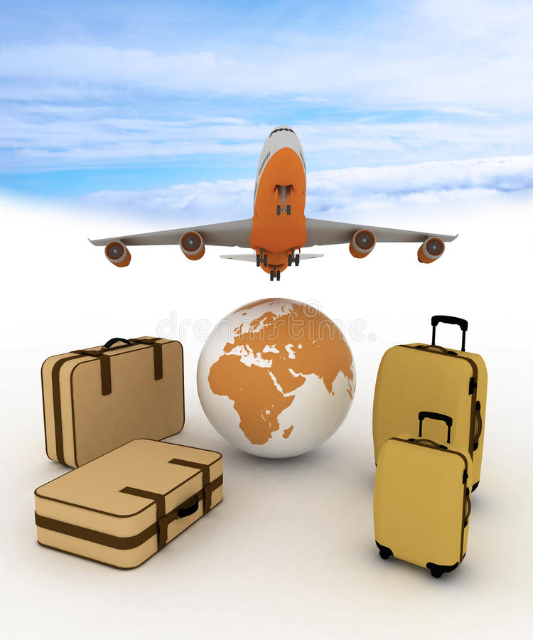 Airliner And Suitcases Stock Photos