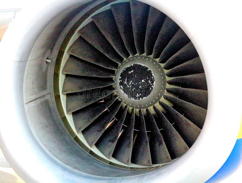 Airliner turbine. Evocative image of airliner turbine royalty free stock photos