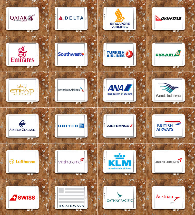 Airlines or airways logos like Qatar, Delta, Emirates, United, KLM, Lufthansa royalty free stock images