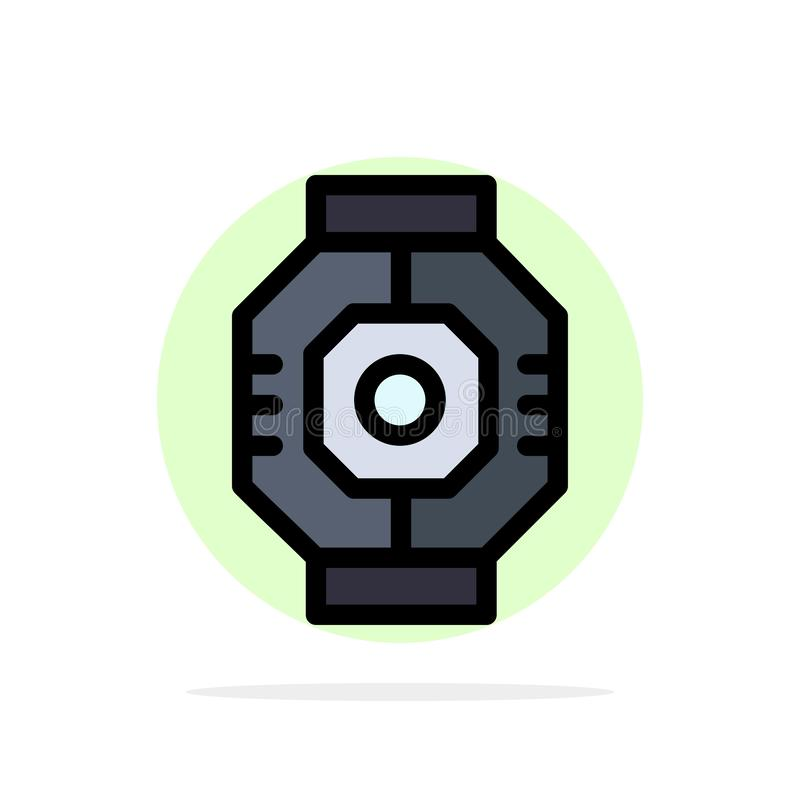Airlock, Capsule, Component, Module, Pod Abstract Circle Background Flat color Icon stock illustration