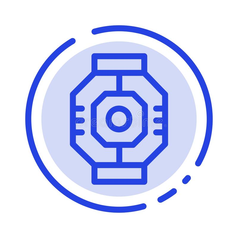 Airlock, Capsule, Component, Module, Pod Blue Dotted Line Line Icon vector illustration