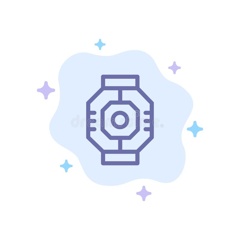 Airlock, Capsule, Component, Module, Pod Blue Icon on Abstract Cloud Background stock illustration