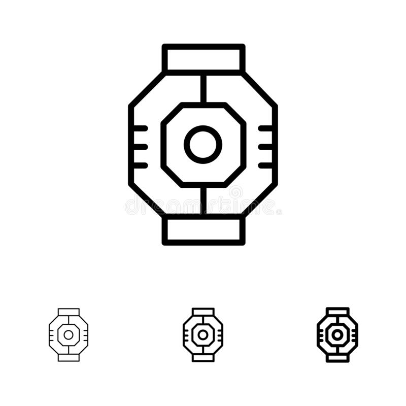 Airlock, Capsule, Component, Module, Pod Bold and thin black line icon set vector illustration