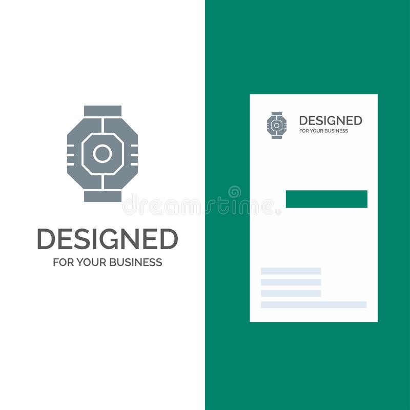 Airlock, Capsule, Component, Module, Pod Grey Logo Design and Business Card Template royalty free illustration