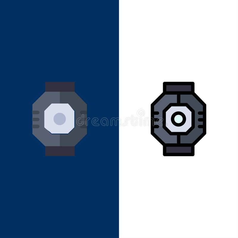 Airlock, Capsule, Component, Module, Pod  Icons. Flat and Line Filled Icon Set Vector Blue Background vector illustration