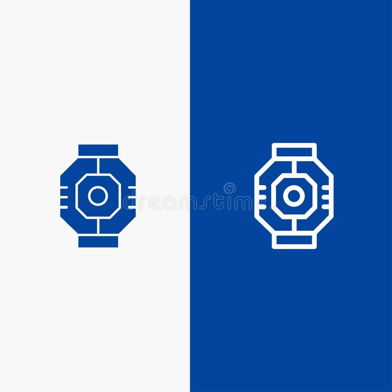 Airlock, Capsule, Component, Module, Pod Line and Glyph Solid icon Blue banner Line and Glyph Solid icon Blue banner stock illustration