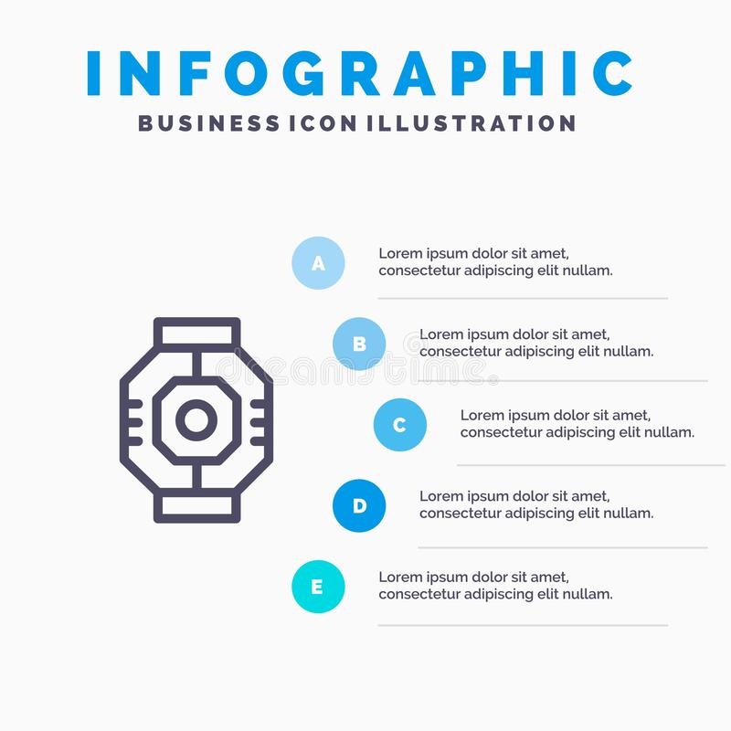 Airlock, Capsule, Component, Module, Pod Line icon with 5 steps presentation infographics Background vector illustration