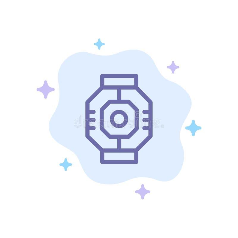 Airlock, Capsule, Componente, Módulo, Ícone Azul Pod no Plano de Fundo da Nuvem Abstrata ilustração stock