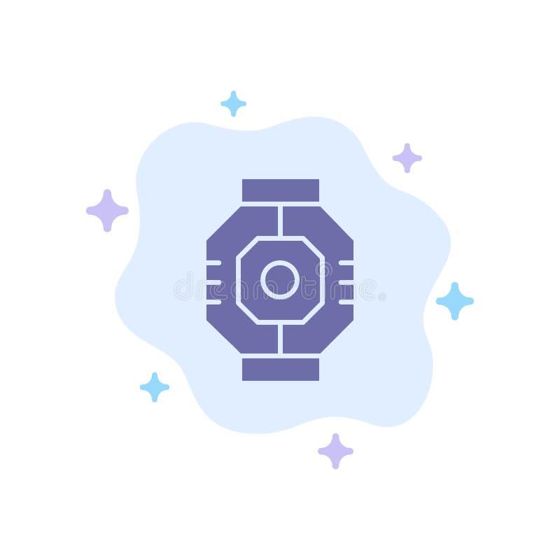 Airlock, Capsule, Componente, Módulo, Ícone Azul Pod no Plano de Fundo da Nuvem Abstrata ilustração royalty free