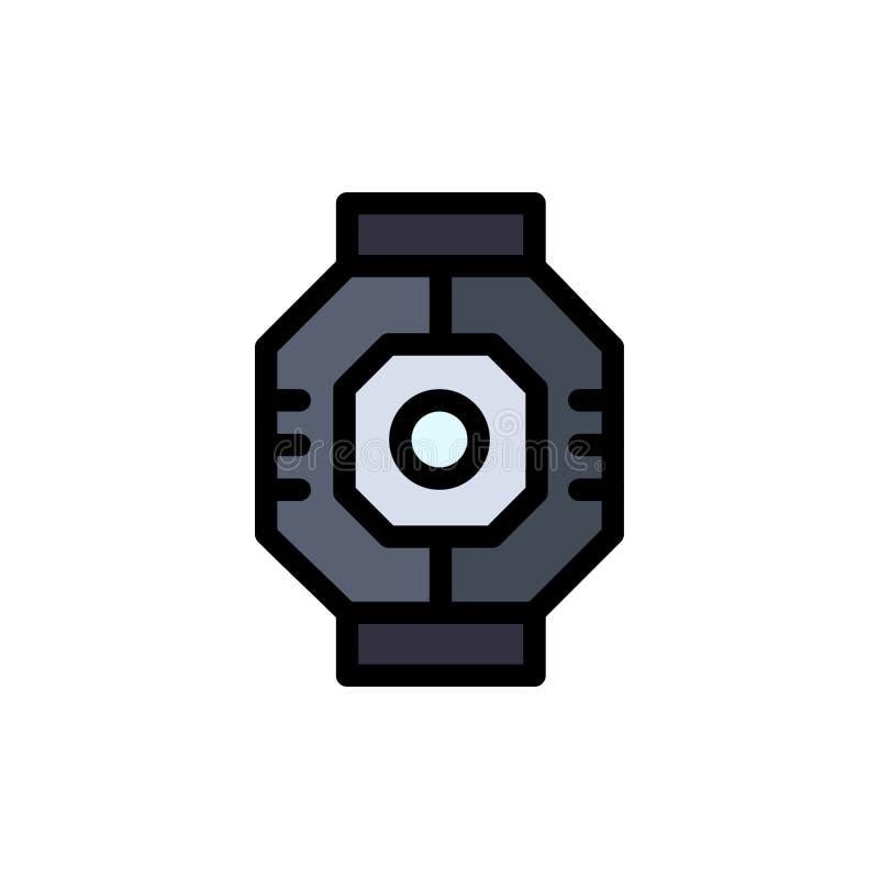 Airlock, kapsuła, składnik, moduł, strąka koloru Płaska ikona Wektorowy ikona sztandaru szablon royalty ilustracja