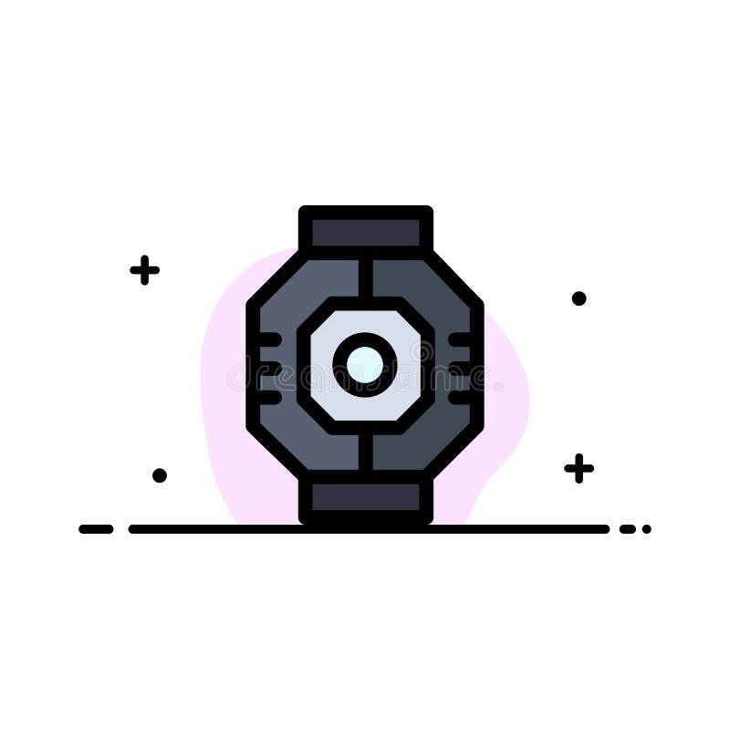Airlock, kapsuła, składnik, moduł, strąka mieszkania ikony sztandaru Biznesowa linia Wypełniający Wektorowy szablon ilustracja wektor