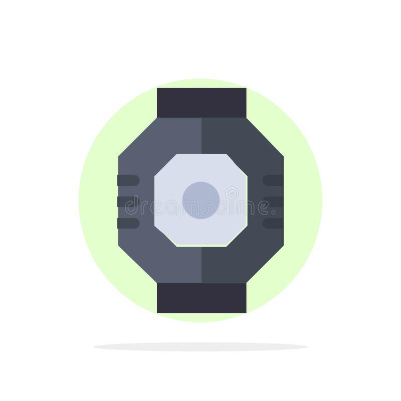 Airlock, kapsuła, składnik, moduł, strąka okręgu Abstrakcjonistycznego tła koloru Płaska ikona ilustracja wektor