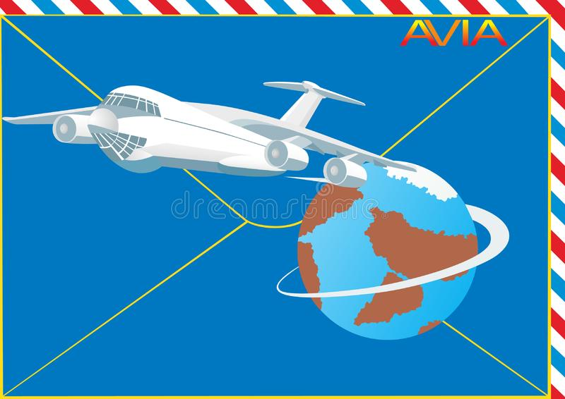 Download Airmail stock vector. Illustration of earth, label, flight - 16409485