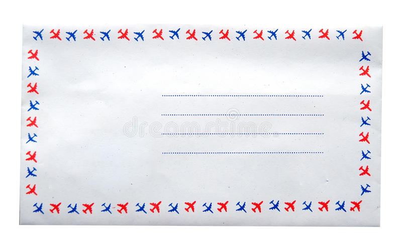 Airmail. Blank Airmail on white background stock images