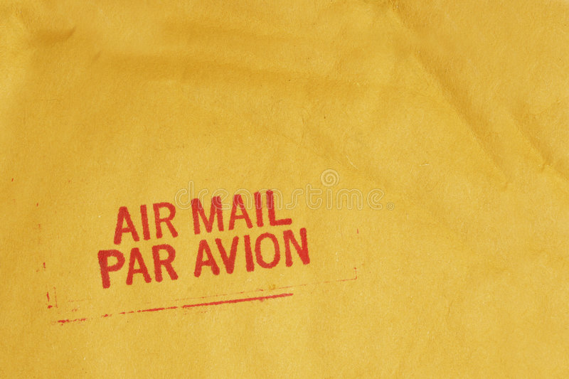 Airmail. Bright airmail stamp on envelopme royalty free stock images