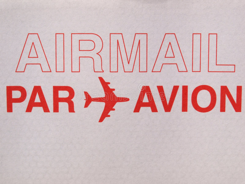 Airmail. Written on a letter envelope stock photos