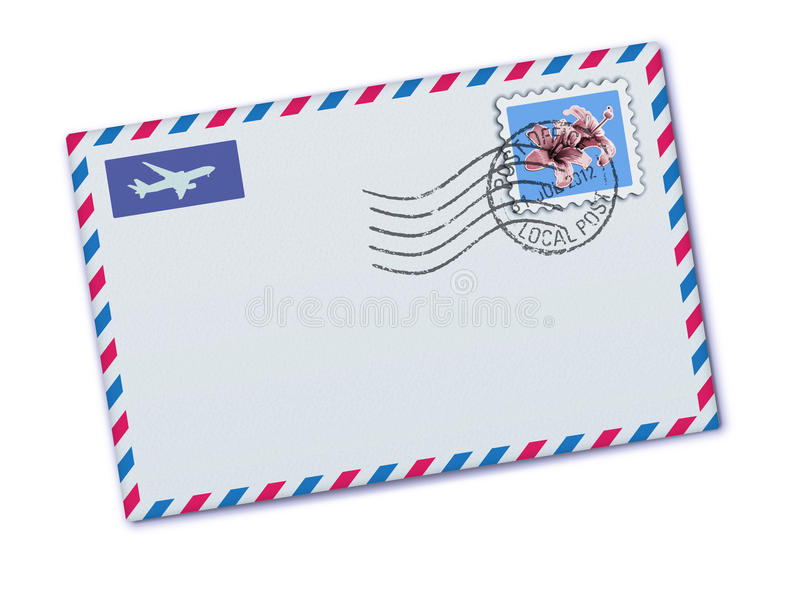 Airmail envelope. Vector illustration of blank airmail envelope with stamp and rubber stamp