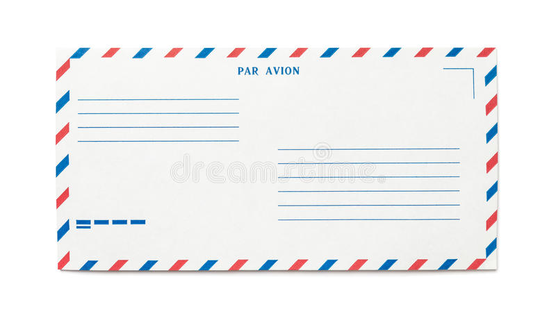 Airmail envelope. Blank airmail envelope isolated with place for text, front view royalty free stock images
