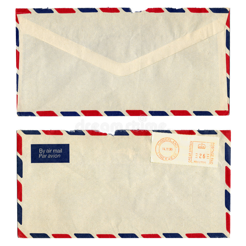 Airmail letter. With UK postage meter stamp stock image