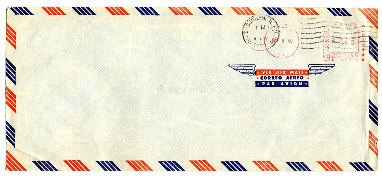 Airmail letter with american stamp. Old airmail letter with american stamp stock photo