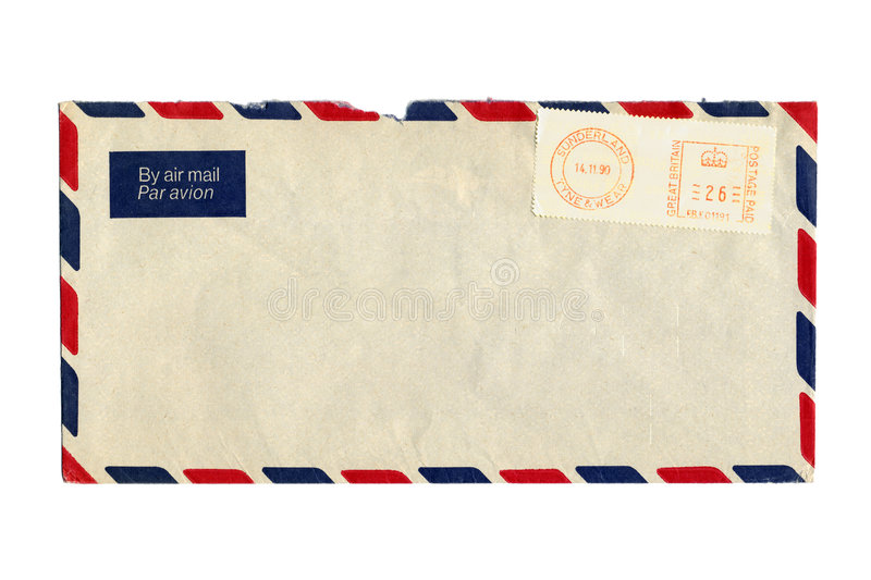 Airmail letter and postmark. Airmail letter with UK postmark stock photo