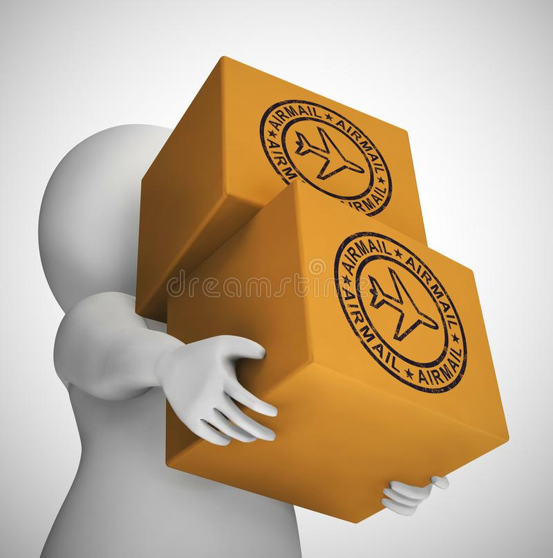 Airmail or par avion stamp meaning letters or parcels by air - 3d illustration. Airmail or par avion stamp meaning letters or parcels by air. Cargo and vector illustration
