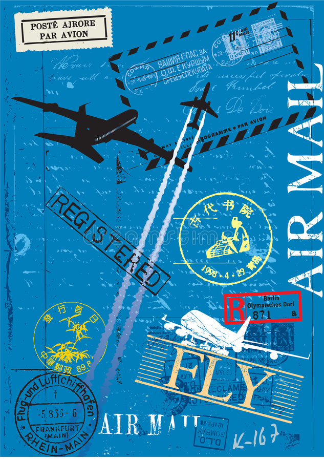 Airmail Postage Stamps Royalty Free Stock Photos