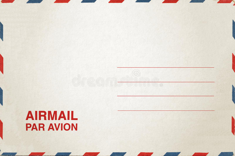 Airmail postcard. White Airmail postcard royalty free stock photos