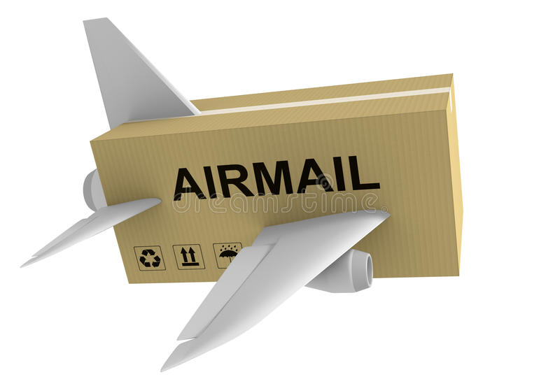 Airmail shipping concept of a mail parcel with airplane wings isolated on a white background, 3D rendering stock illustration