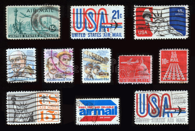 Airmail stamps royalty free stock photos