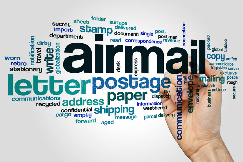 Airmail word cloud. Concept on grey background stock photos