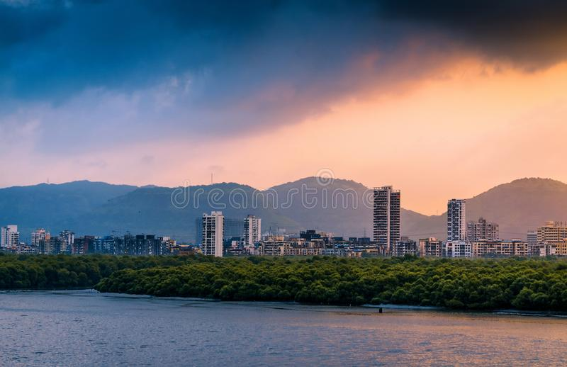 Airoli skyline in Mumbai in the morning. View of Airoli skyline in the morning as viewed from the Mulund-Airoli bridge royalty free stock images