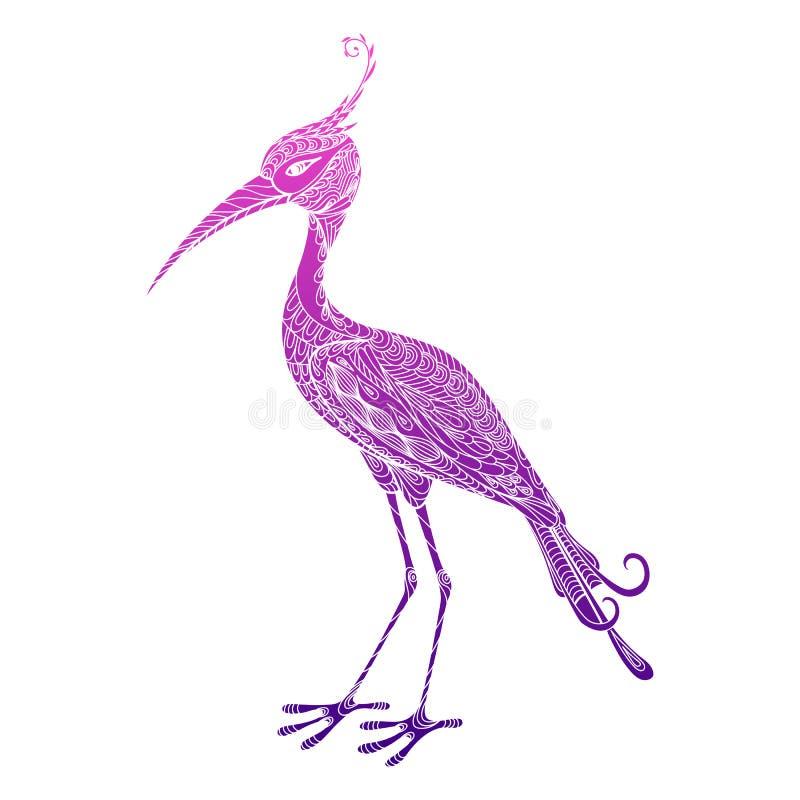 Airone decorato astratto colorato disegnato a mano isolato dell'uccello, cicogna, gru su fondo bianco Ornamento rosa, porpora, vi illustrazione di stock