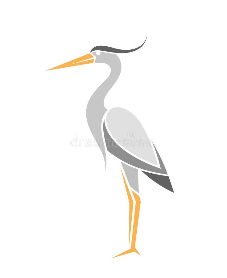 Airone Uccello astratto su fondo bianco illustrazione di stock