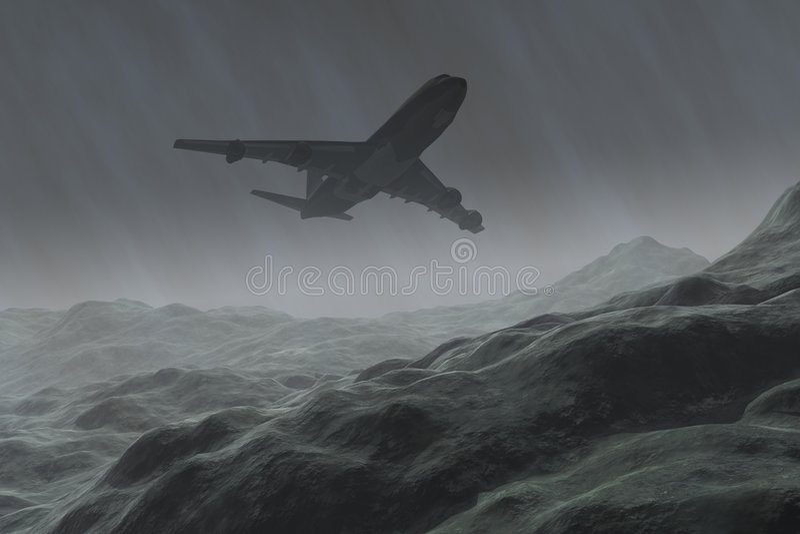 airoplain多暴风雨的天气 免版税库存照片