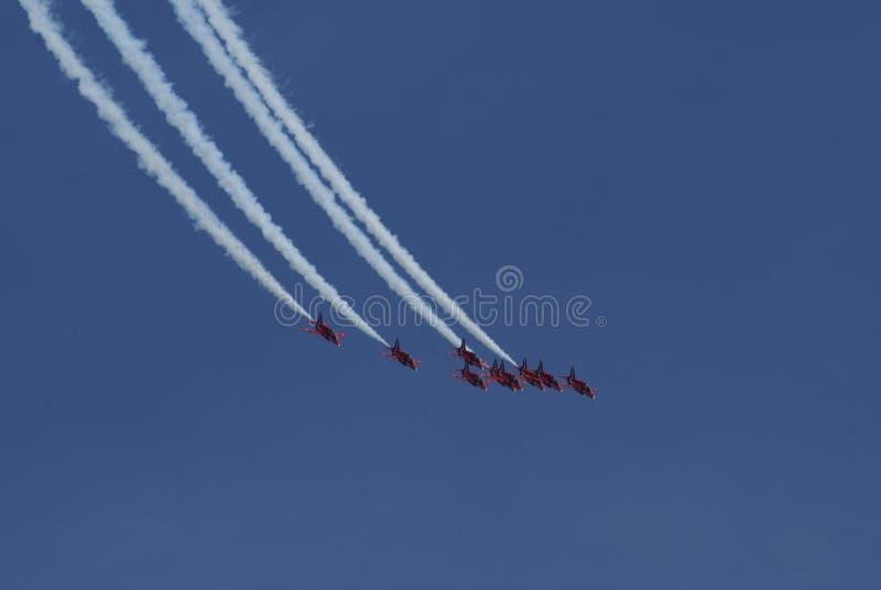 airpark Красные стрелки летая в образование в Англии стоковая фотография rf