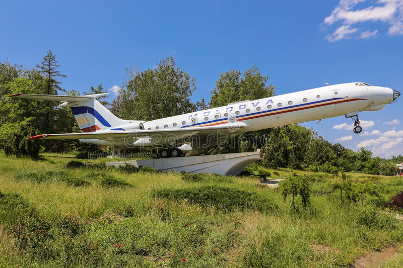 Airplan. It's a plane that monument is located near the airport Chisinau, Republic of Moldova stock photo