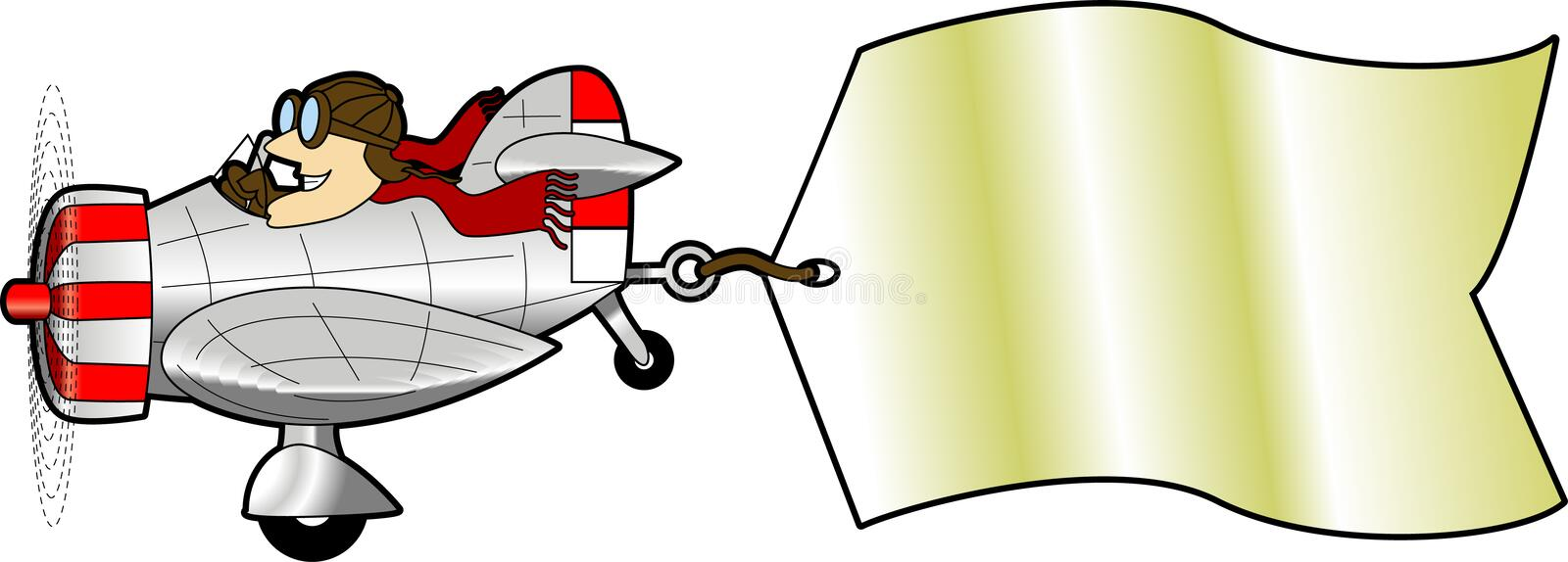 Airplane. Cartoon graphic depicting flying airplane pulling an attached message sign royalty free illustration