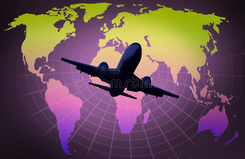 Airplane. World map on grid globe with airplane royalty free illustration