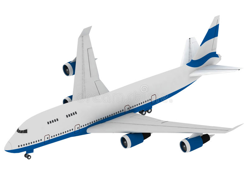 Airplane. 3D model of airplane on a light background royalty free illustration