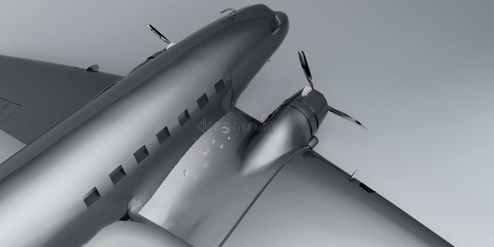 Airplane. Metallic black and white rotor airplane on a neutral background royalty free illustration