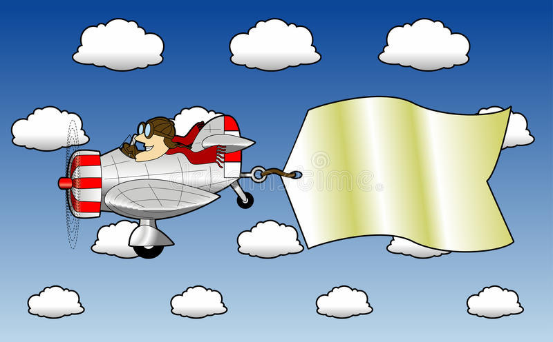 Airplane_2. Cartoon graphic depicting flying airplane pulling an attached message sign stock illustration