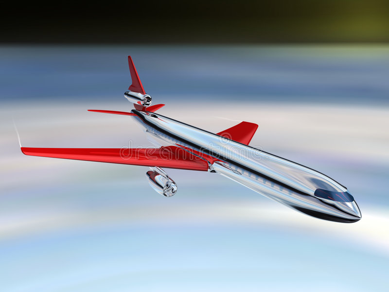 AIRPLANE. 3d Illustration of airplane, top view