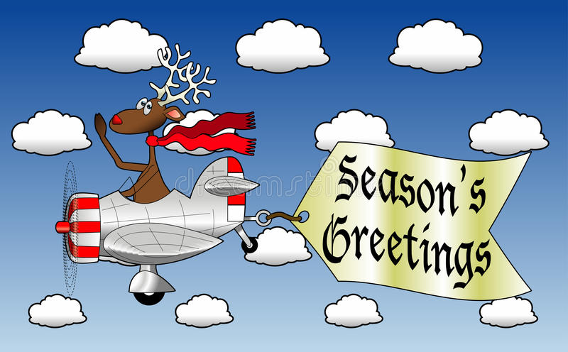 Airplane_4. Cartoon graphic depicting a reindeer flying an airplane with an attached message sign vector illustration