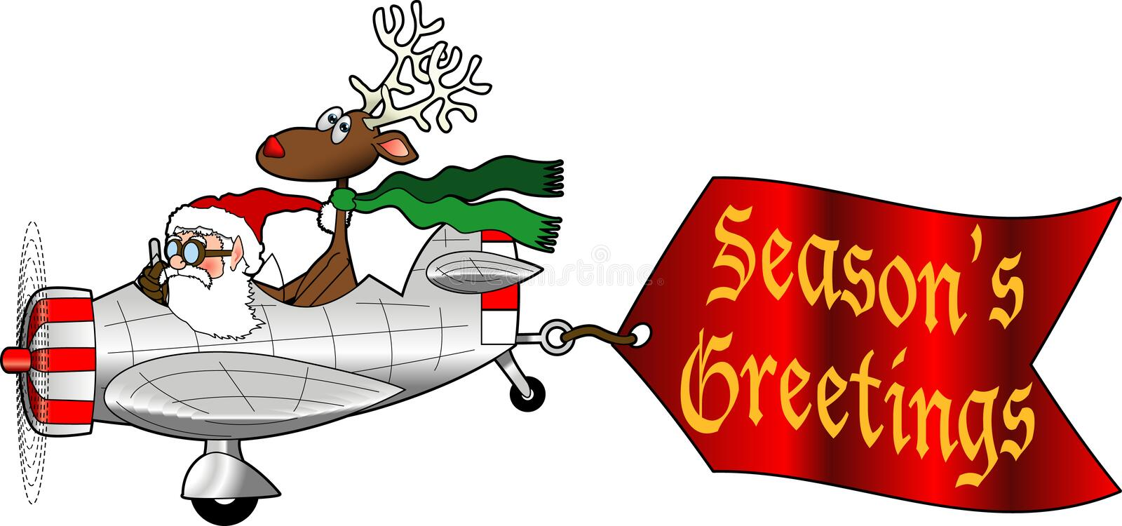 Airplane_5. Cartoon graphic depicting Santa and a reindeer flying an airplane with an attached message sign vector illustration
