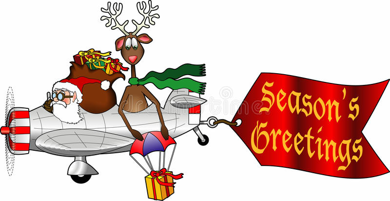 Airplane_7. Cartoon graphic depicting Santa and a reindeer flying an airplane with an attached message sign vector illustration