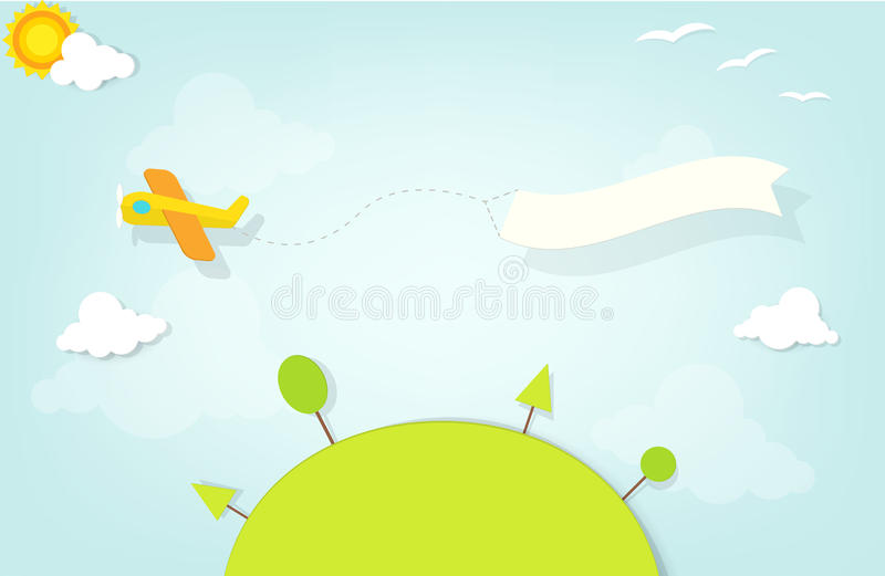 Airplane with an advertising banner stock illustration