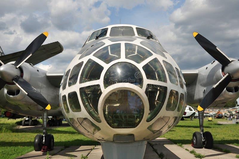 Airplane for aerial photography. Aviation museum, Kiev, Ukraine royalty free stock photo