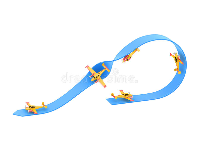 Illustration of aerobatics half loop with a half roll with yellow airplane model over blue arrow on white background stock illustration